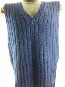 Vintage Navy Cardigan Knit Vest Sweater Boho Rocker Preppy 70s 70s 80s L