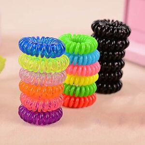 10 Spiral Plastic Hair Bands Baby Girls Ponytail Stretchy Elastic ... b596bd8716e