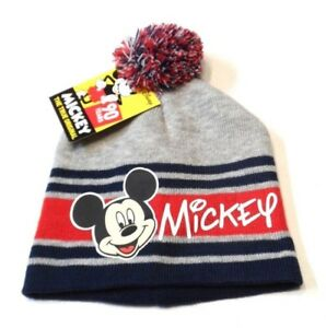 63b3e6d0556 New Disney Mickey Mouse Beanie Hat Knit Boys Girls Gray Red ...