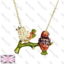 CRYSTAL rhinestone SPARROW BIRD NECKLACE gold plt chain ENAMEL kitsch song birds