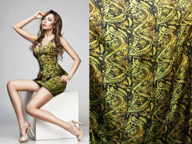 by the Yard Luxury Designer Print 100% Silk Satin Charmeuse Fabric Crepe Back