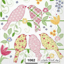(1062) TWO Individual Paper Luncheon Decoupage Napkins - PATTERNED BIRDS FLOWERS
