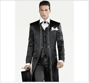 New Black Embroidery Men Wedding Suits 3 Piece Formal Groom Tuxedos