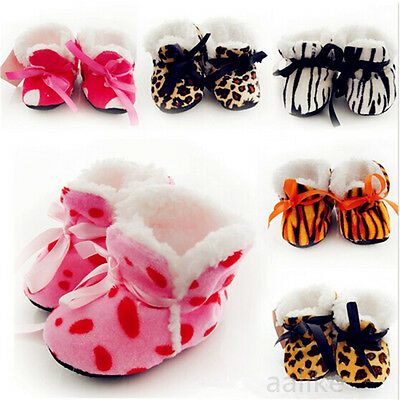 Baby Girls Newborn Winter Warm Boots Toddler Infant Soft Sole Shoes 0-6 Months