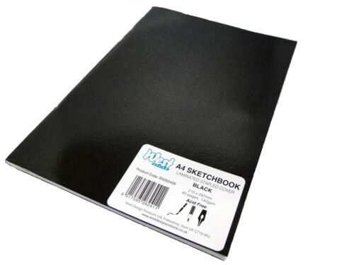 A4 Black Artist Sketch Books Drawing Sketching Plain Paper Pads Laminated 140gsm