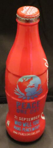 "Coca-Cola glass bottle plastic sleeve /""Peace One Day/"" 21 september 2014 Belgium"