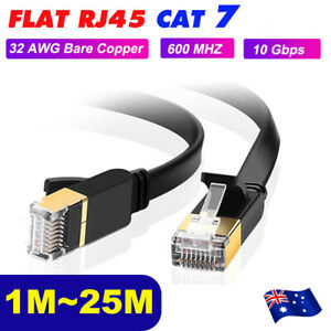 1m-25m-CAT7-RJ45-10Gbps-Ethernet-Network-Lan-Cable-Flat-Shielded-patch-lead