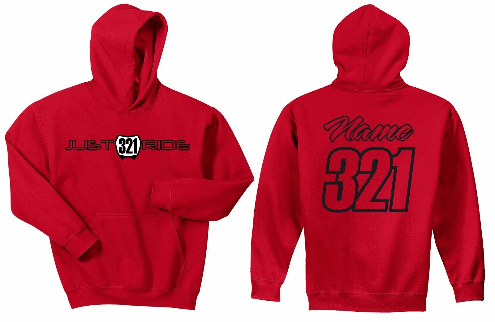 MOTOCROSS NUMBER PLATE HOODIE SWEAT SHIRT MX MOTO JUST RIDE ROT HONDA CR