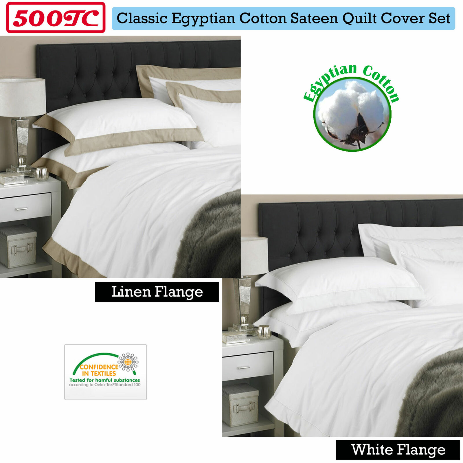 Quality 500TC Egyptian Cotton TailGoldt Quilt Cover Set QUEEN KING Super King