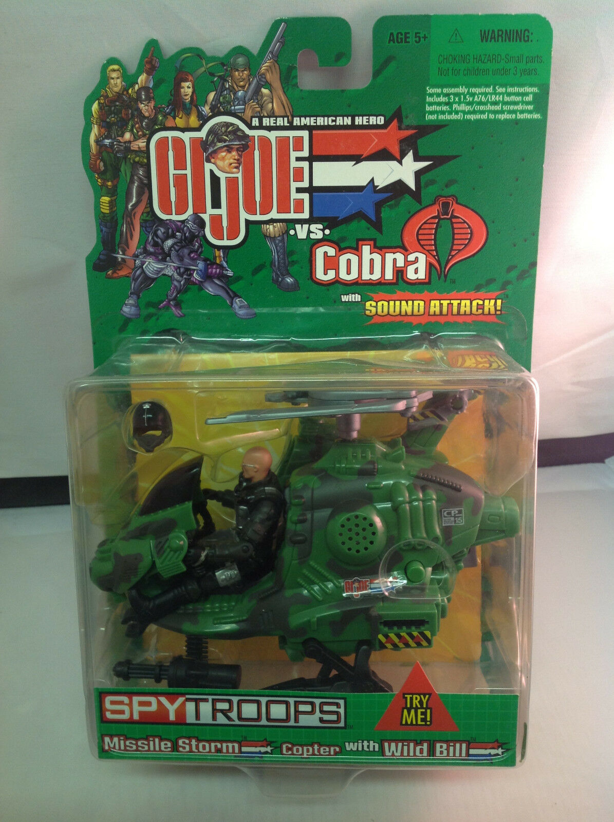 New GI Joe Vs Cobra Spytroops Missile Storm Copter with Wild Bill MOC