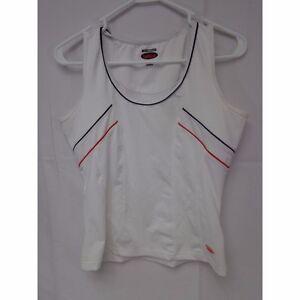 Bolle Tennis Femmes Tennis Top Femmes Medium Blanc Avec Rouge & Bleu Tuyauterie-afficher Le Titre D'origine