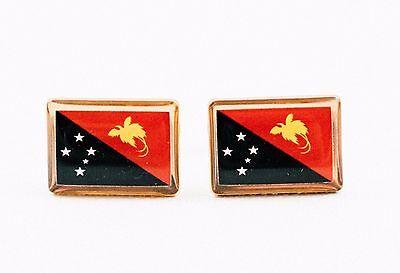 Papua New Guinea   enamelled coin cufflinks 1 Toea Birdwing Butterfly