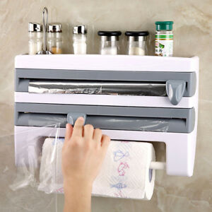kitchen towel holder wall mounted. Image Is Loading Kitchen-Roll-Dispenser-Cling-Film-Tin-Foil-Paper- Kitchen Towel Holder Wall Mounted