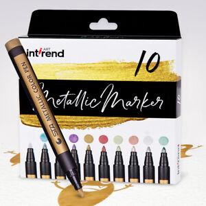 int-rend-Metallic-Marker-10-Farben-permanent-wasserfeste-Stifte