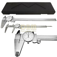 Stainless Steel 12 Mechanical Dial Caliper Measures Outside Inside Ruler Scale