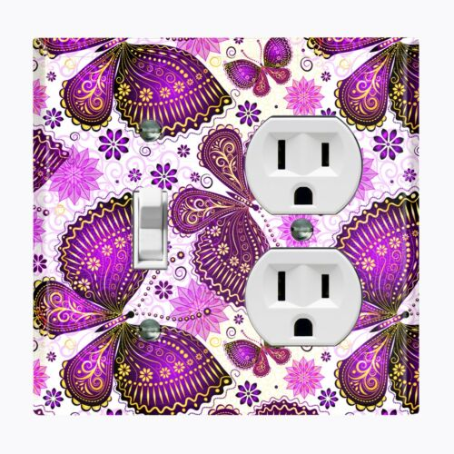 Metal Light Switch Cover Wall Plate Beautiful Butterfly Party Flower Purple