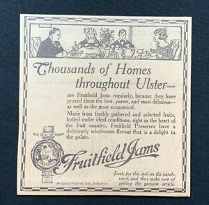 1926 Newspaper Clipping FRUITFIELD JAMS, PORTADOWN, ULSTER JAM PRESERVES