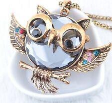 Halskette eule Uhu owl Kauz Tier Vintage Gold großer Anhänger Strass Modeschmuck