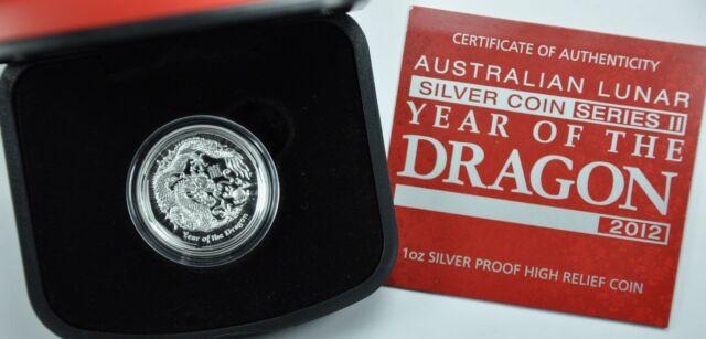 Australia 2012-P S$1 Silver Dragon - High Relief Proof Coin Australian