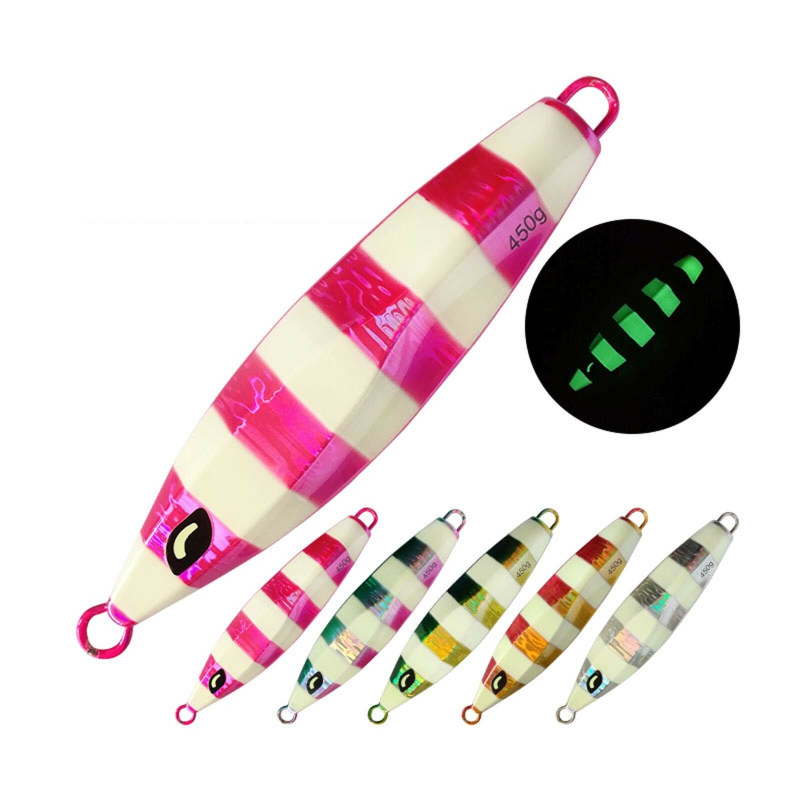 5PCS Glow Stripe Fishing Slow Jig Deep sea Jigging Jigbait Spoon bait 40 60 150g