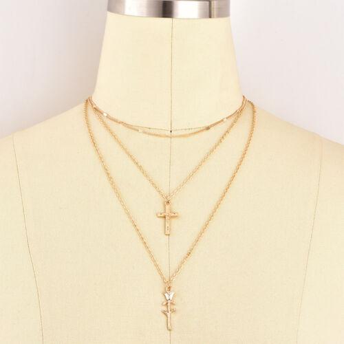 1Pcs Femme Fashion charme élégant multicouche Gold Rose Croix collier pendentif Hot
