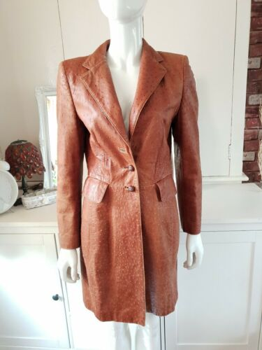 90 Stunning Leather 36 Vintage Escada S Coat Size Brown Tan twgHH7Yxqd