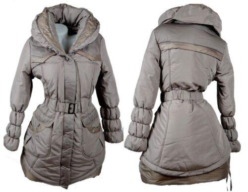 Donna Invernale Palloncino Parka Trapuntato Giacca Cappotto Anorak 40 42 44 M L XL Grigio caldo