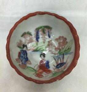 Bowl-Small-Sauce-Soko-Fine-China-Vintage-Hand-Painted-Japan-Detailed-Scenery