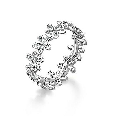 Ring of Daisies Silver Band and Dazzling CZ Inlay Ring Size P - 56
