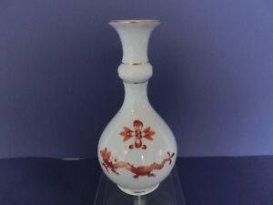 Meissen Vase reicher roter Drache rot mit Goldrand 1.Wahl  ca. 18cm