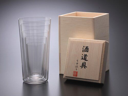 Shotoku Glass SAKE Tumbler 5 Taille Set SS S M L LL in Wooden GiftBox From Japan