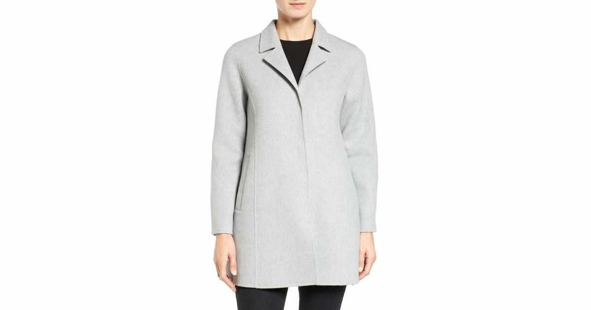 NWT Eileen Fisher SALE  XL   Notch Collar Brushed Wool Doubleface Coat Pearl