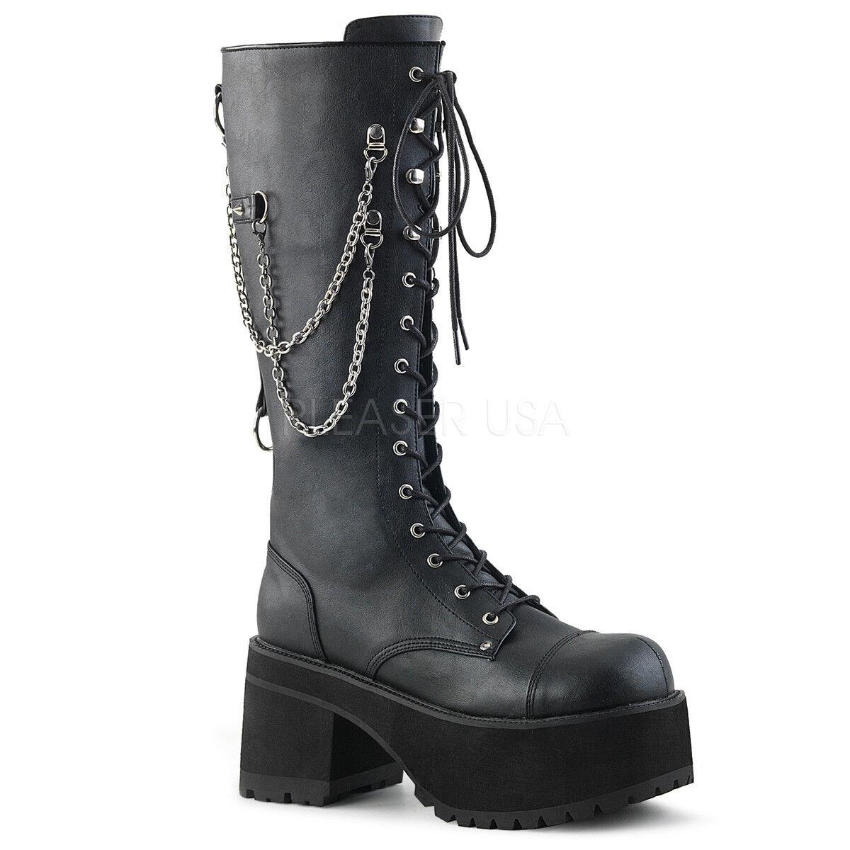 DEMONIA RAN303 BVL Homme Gothique Punk Vegan noir Plateforme Genou bottes Avec Chaînes