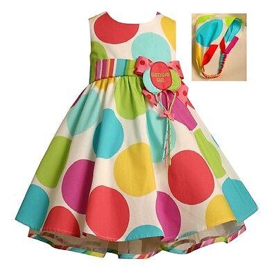 Bonnie Jean Toddler Girls Multi-Color Polka Dot Birthday Balloon Party Dress 4T