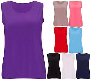 Womens-New-Plain-Soft-Stretch-Ladies-Sleeveless-Fit-T-Shirt-Vest-Top-Plus-Size