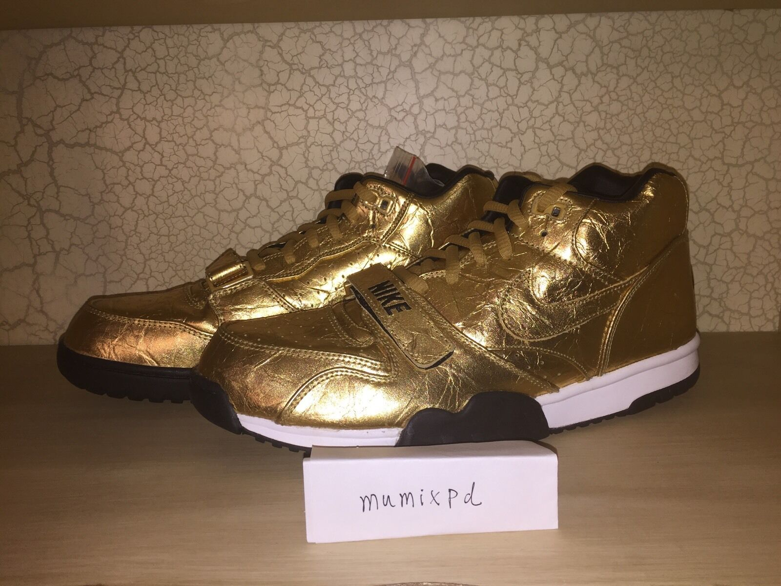 New Nike Air Trainer 1 PRM QS NFL qs limited Superbowl 50 840169-700 Gold sz 13