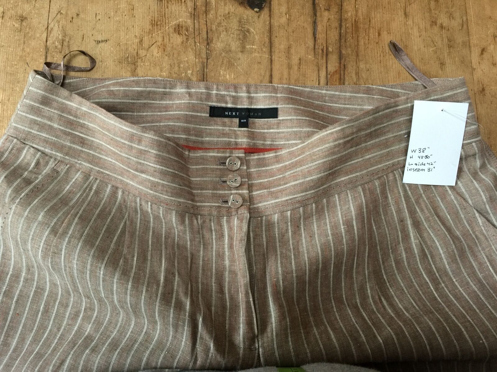 NEW NO TAGS 'NEXT' LINEN WIDE LEG CUFFED STRIPE TROUSER 18 R  38  W INSEAM 31