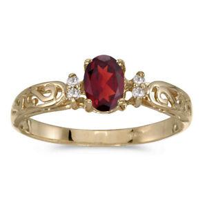 10k-Yellow-Gold-Oval-Garnet-And-Diamond-Ring