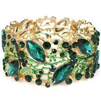 Elegant Bridal Formal Gold Green Vine Marquise Crystal Statement Bracelet