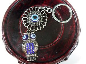 BLUE OWL Key Chain Ring Evil Eye Feng Shui Glass Bead Turkish Good Lucky Charm