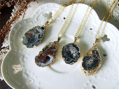 Agate Slice Necklace Gold Plated Edge Rough Gemstone Pendant Raw Agate Pendant