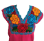 Floral-Mexican-Blouse-Embroidered-Made-in-Mexico-Handmade-Cotton-Pink thumbnail 2