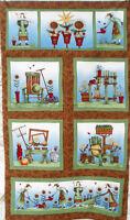 Debbie Mumm Rustic Folk Art Gardening Fabric Panel Garden Pots Rake Frog