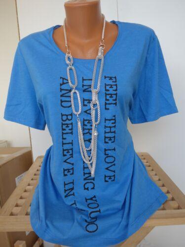 NEU 290 Sheego Shirt Gr 40//42-56//58 Blau Kurzarm mit Aufdruck