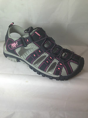 ladies sandals trail walking hiking velcro beach grey pink sports toggle