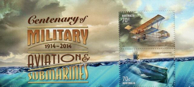 AUSTRALIA 2014- CENTENARY OF MILITARY AVIATION AND SUBMARINES  MINI SHEET MUH