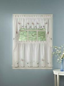 Details about Monarch Embroidered Butterfly White Kitchen Curtains - Tiers  Valance or Swag