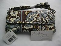 Vera Bradley Slate Blooms Sleek Wallet Crossbody Strap Purse Checkbook Coin