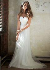 David Bridal Galina Swiss Dot Tulle Empire Waist Wedding Dress Size 10