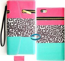 "Teal P Leopard Zipper Wallet Purse PU Card Slot Leather Case Iphone 6 Plus 5.5"""
